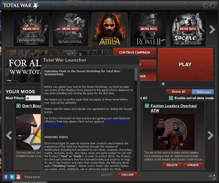 Total War Launcher uploads my Attila mod to Warhammer