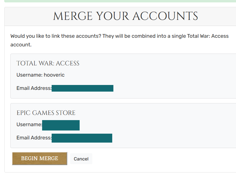 I can't link my total war access acount to my epic games ...