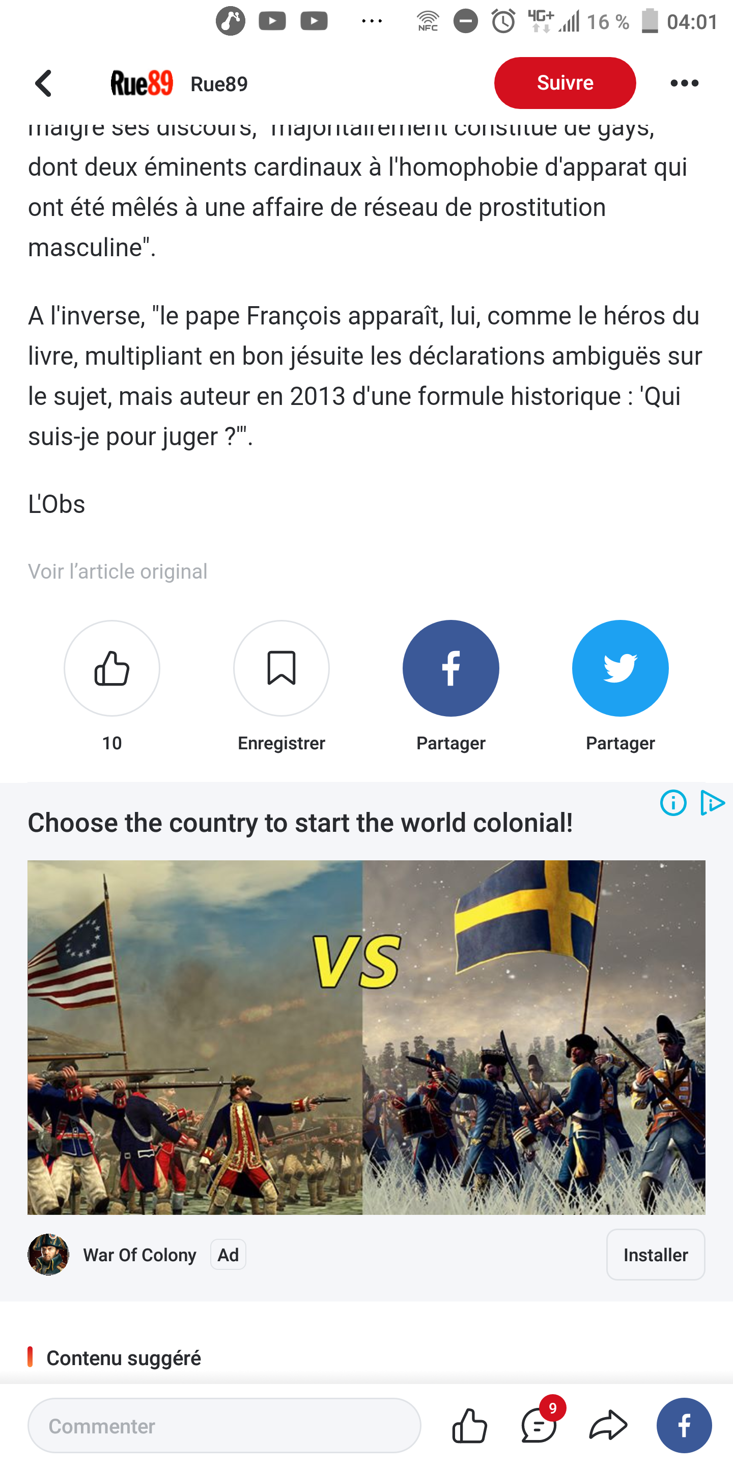 An ad for an mobile game use Empire total war footage