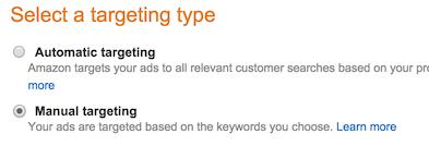Manual targeting Amazon ads