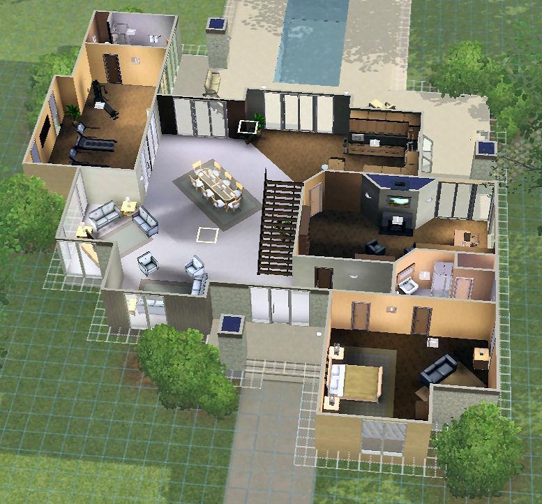 plans de la maison modern mansion des sims 3 super pouvoirs les sims. Black Bedroom Furniture Sets. Home Design Ideas
