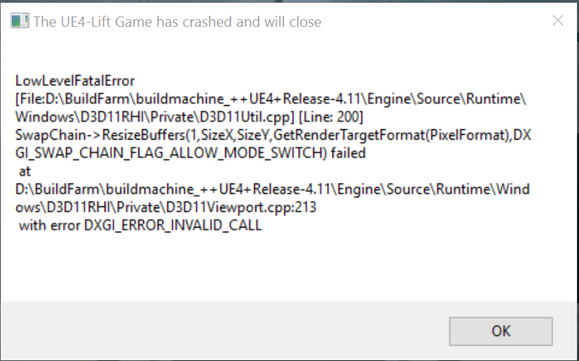 UE4-Lift Game has crashed and will close