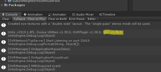 Oculus Unity Integration - v1 38 (06/21/19) — Oculus