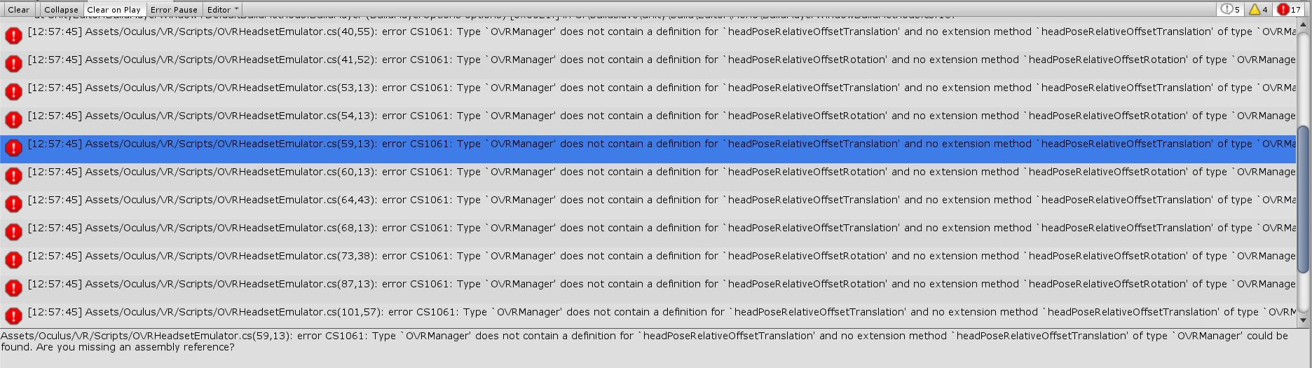 Oculus Utilities for Unity - OVRManager missing assembly