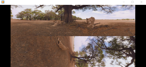 VR videos (360°) with one stream and horizontal split inside