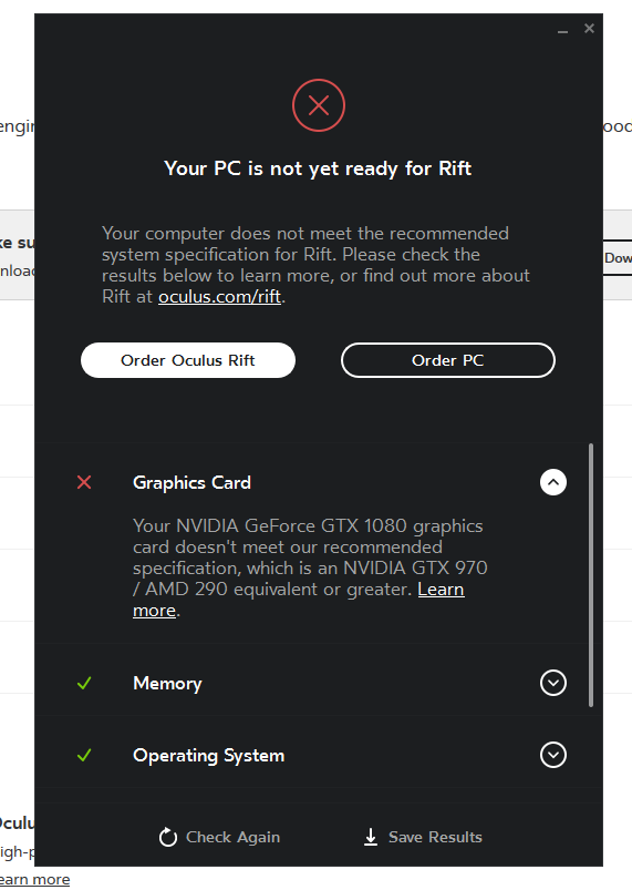Running Oculus Compatibility test on MSI GT73VR - says not