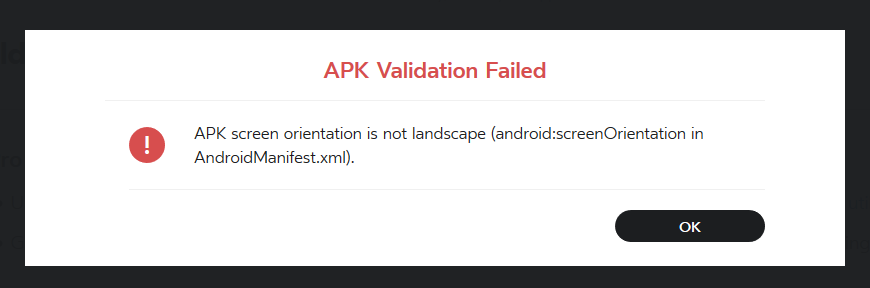 APK Rejected due to not being in Landscape mode — Oculus