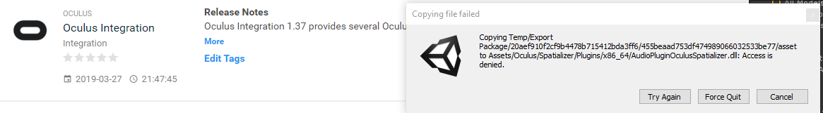 Oculus Integration 1 24 - Access is denied OVRPlugin dll — Oculus