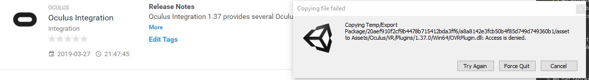 Oculus Integration 1 24 - Access is denied OVRPlugin dll — Oculus