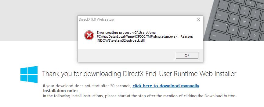 Installation failed, DirectX — Oculus