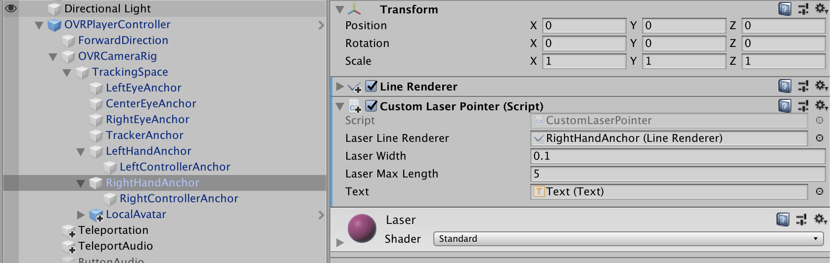 Add ray cast from the hand in Unity — Oculus