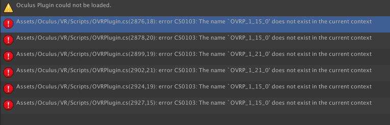 Error when loading in Oculus Utilities for Unity — Oculus
