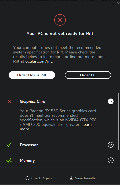 Think it has a problem recognizing my graphics card \u2014 Oculus