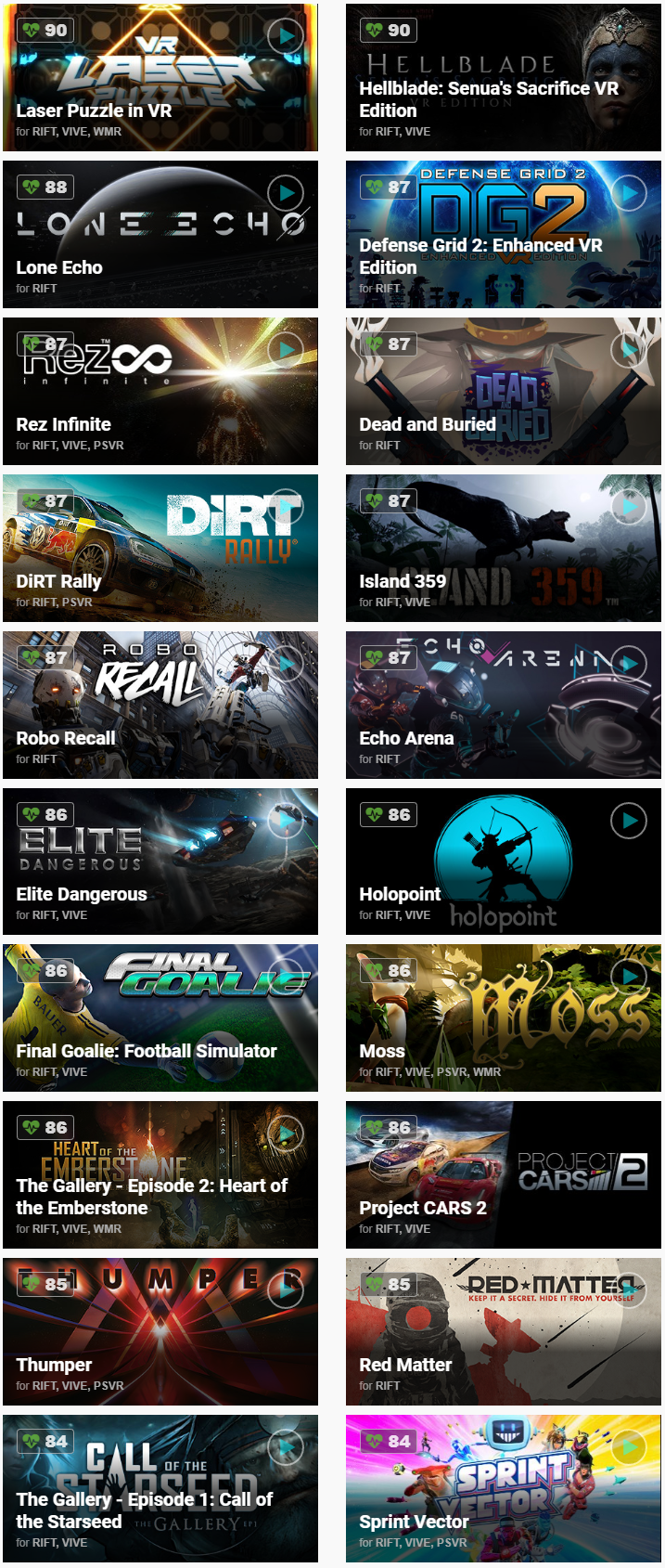 List of Rift killer apps and games by user ratings — Oculus