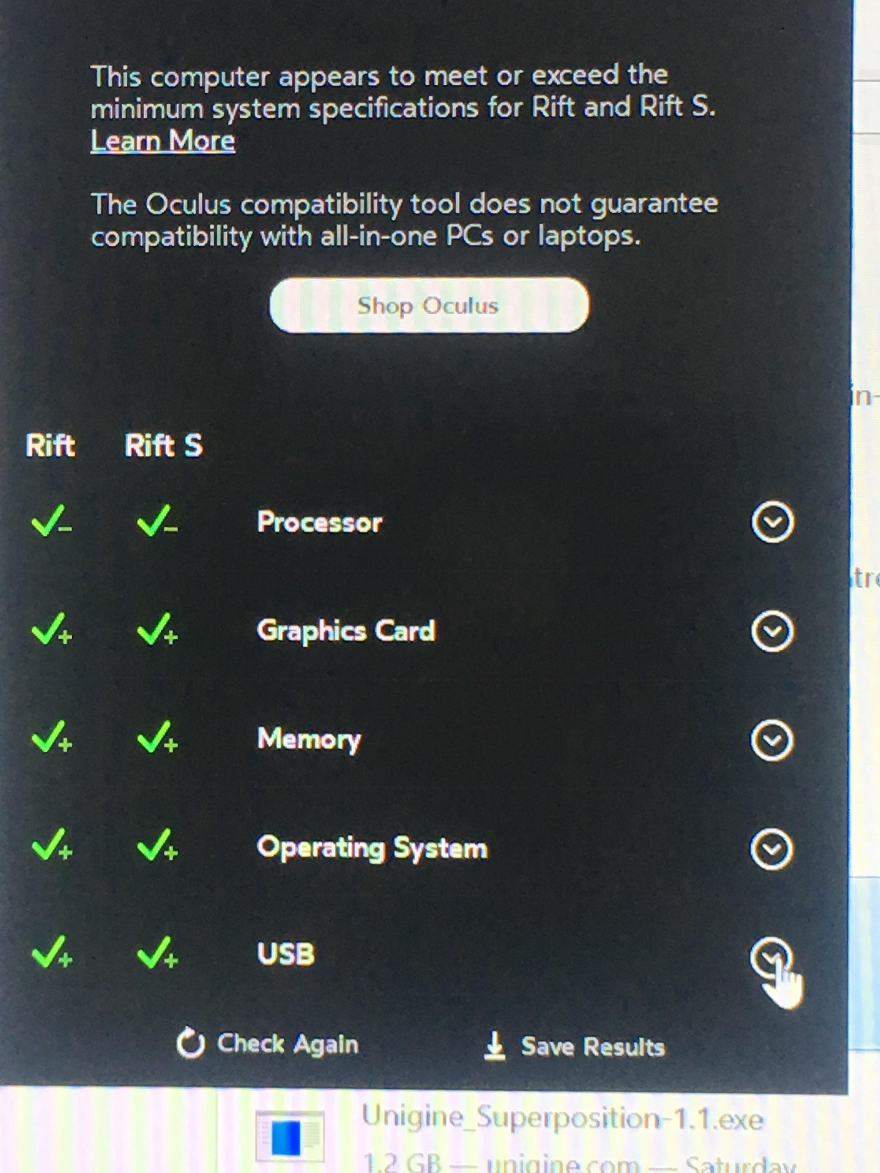 Black screen / green checks — Oculus