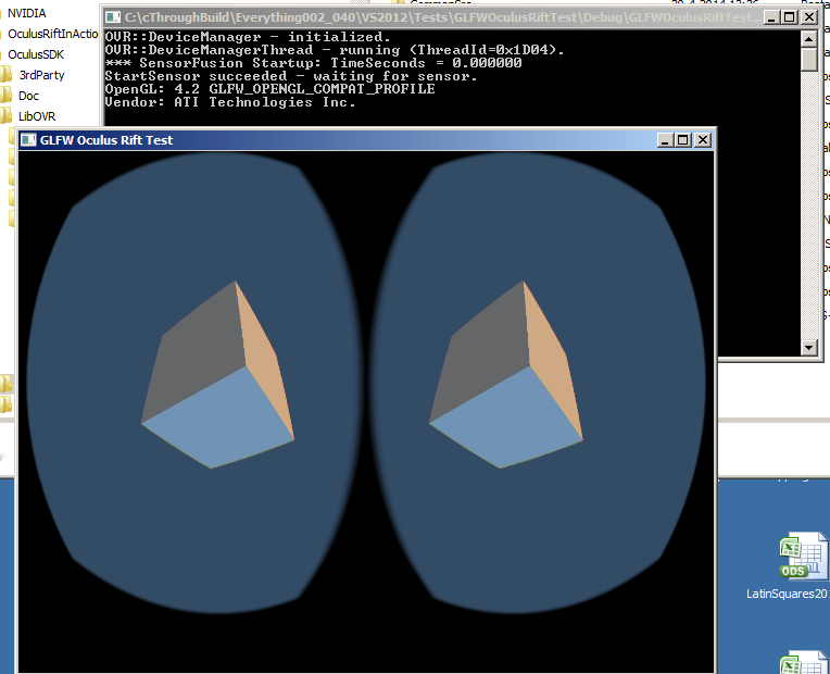 Simple OpenGL example with GLFW, GLEW and OculusSDK 0 3 1