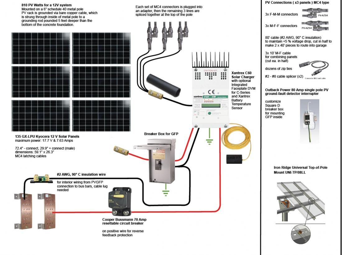 12 Volt 250 Watt Solar Panel Wiring Diagram Modern Design Of Light Battery Bank Sizing Northernarizona Windandsun Rh Forum Electric Com Dc