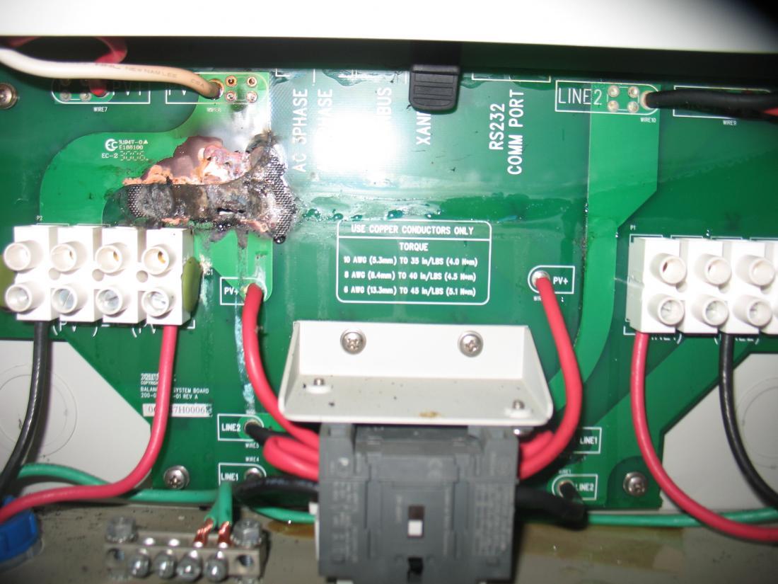 Burnt disconnect board Xantrex GT — northernarizona-windandsun
