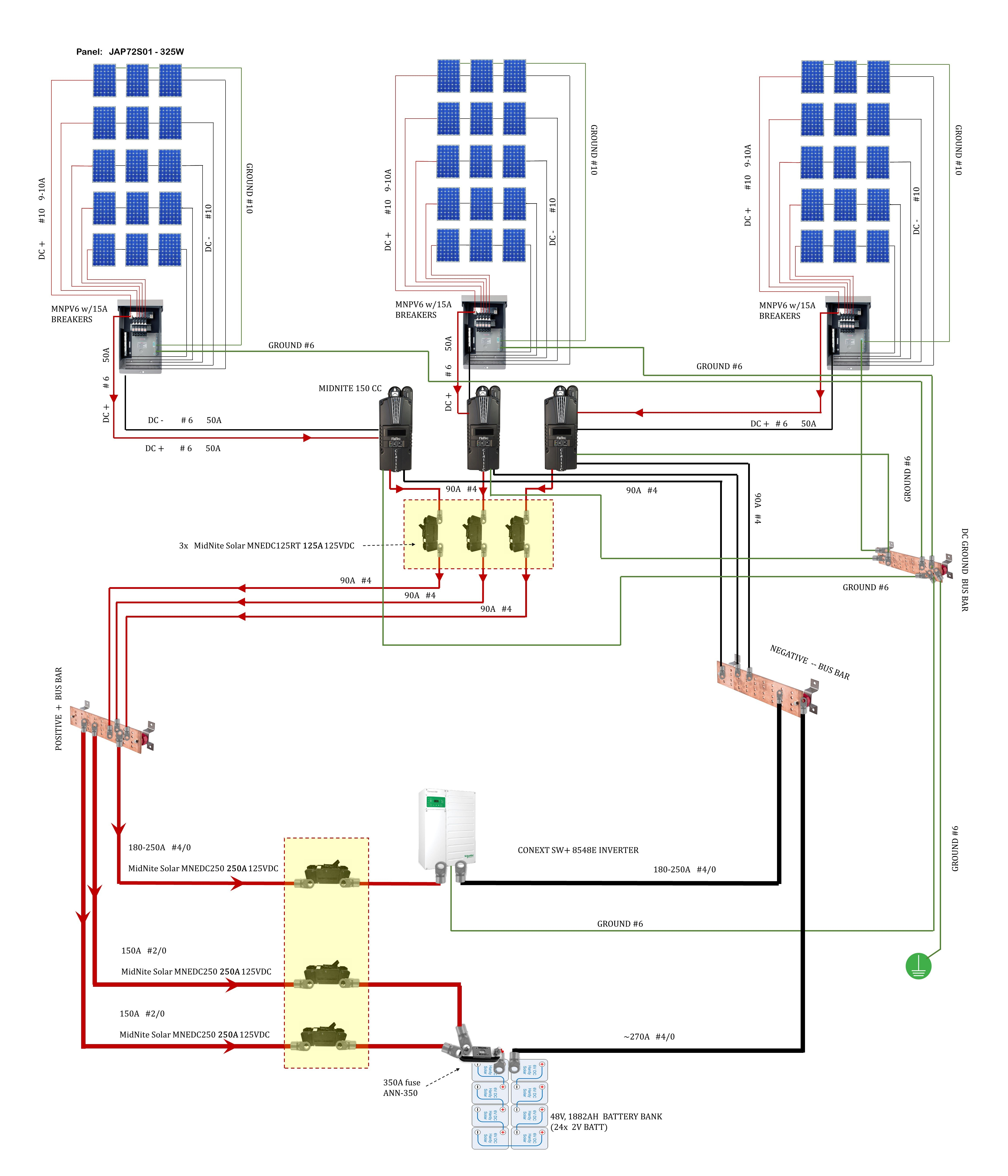 dc breakers and wire size for 48v battery bank w 3 charge off grid solar wiring diagram phone jack wiring cat 5 wiring