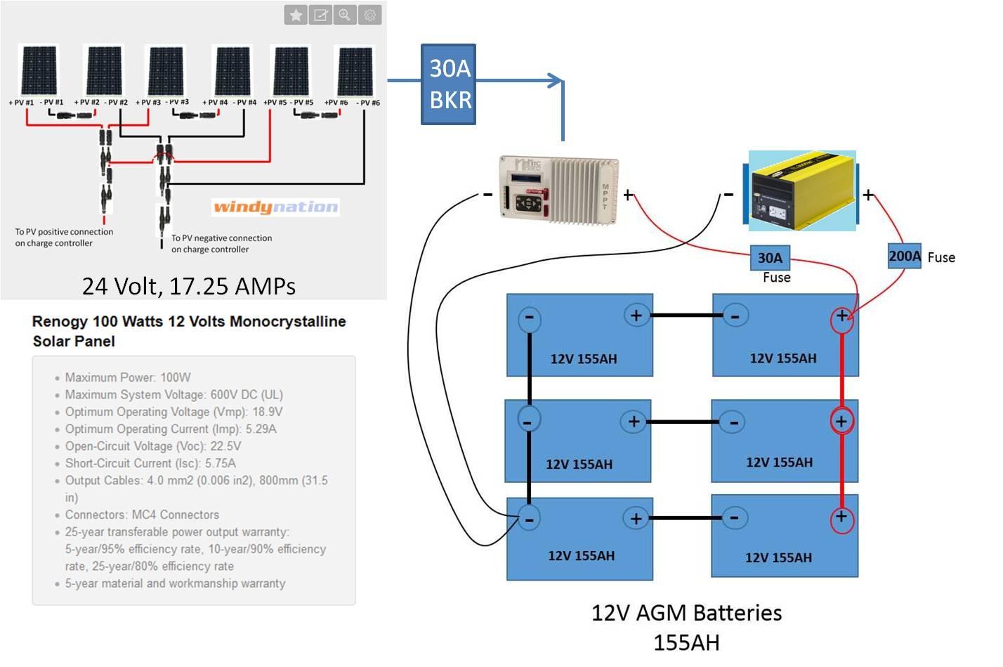 Cable Connections Battery Bank Northernarizona Windandsun 4 24 Volt Wiring Diagram 0