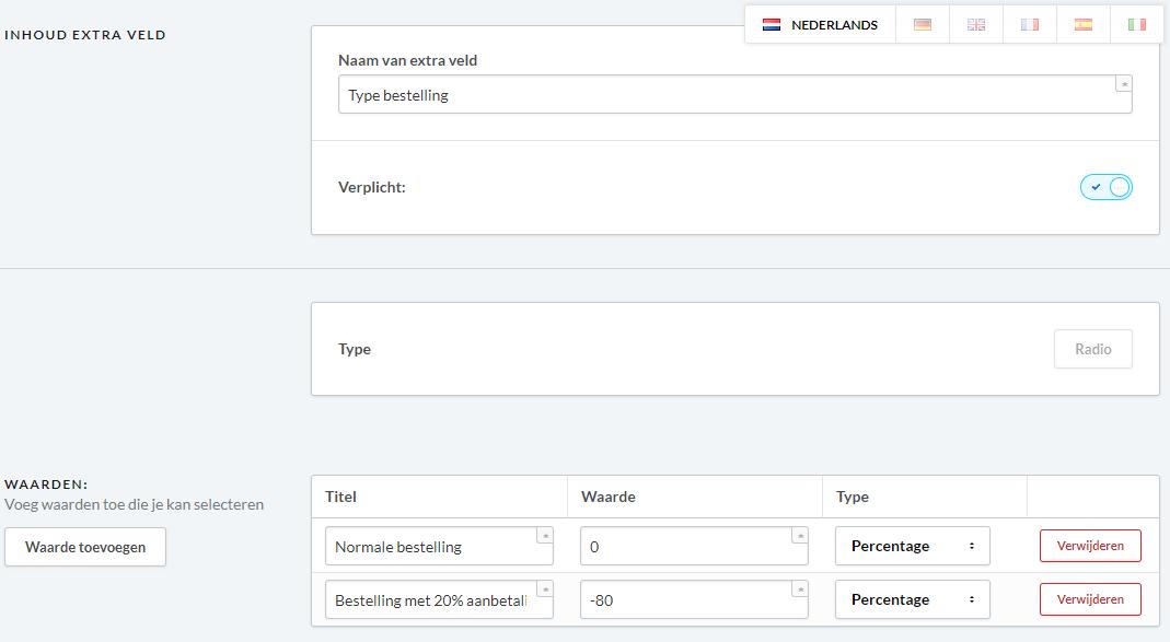 Bewerk extra veld  Type bestelling   Lightspeed eCom.png
