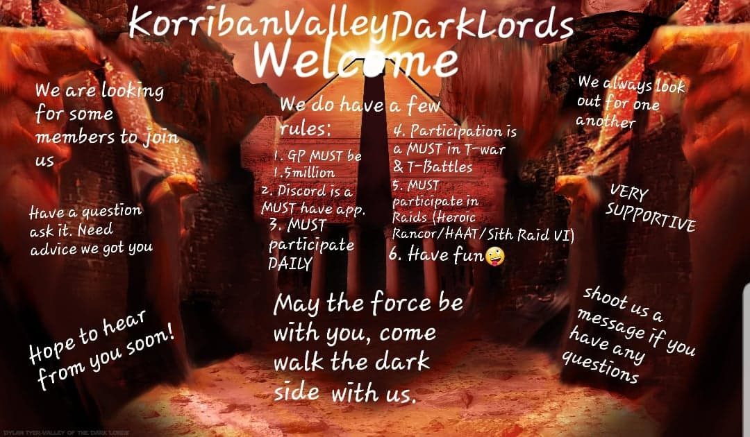 KorribanValleyDarkLords IS RECRUITING & WE have drop it to 1