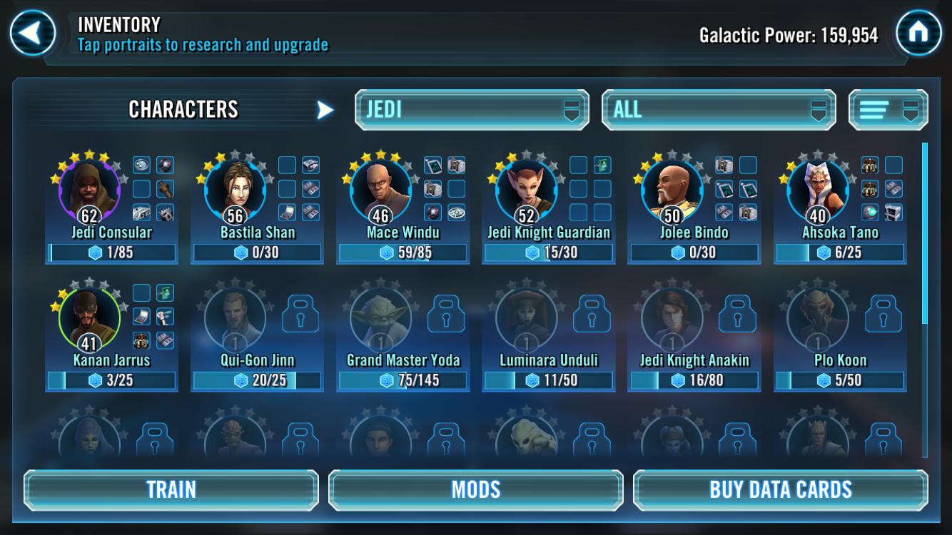 Building up a Jedi team (total beginner) — Star Wars Galaxy of