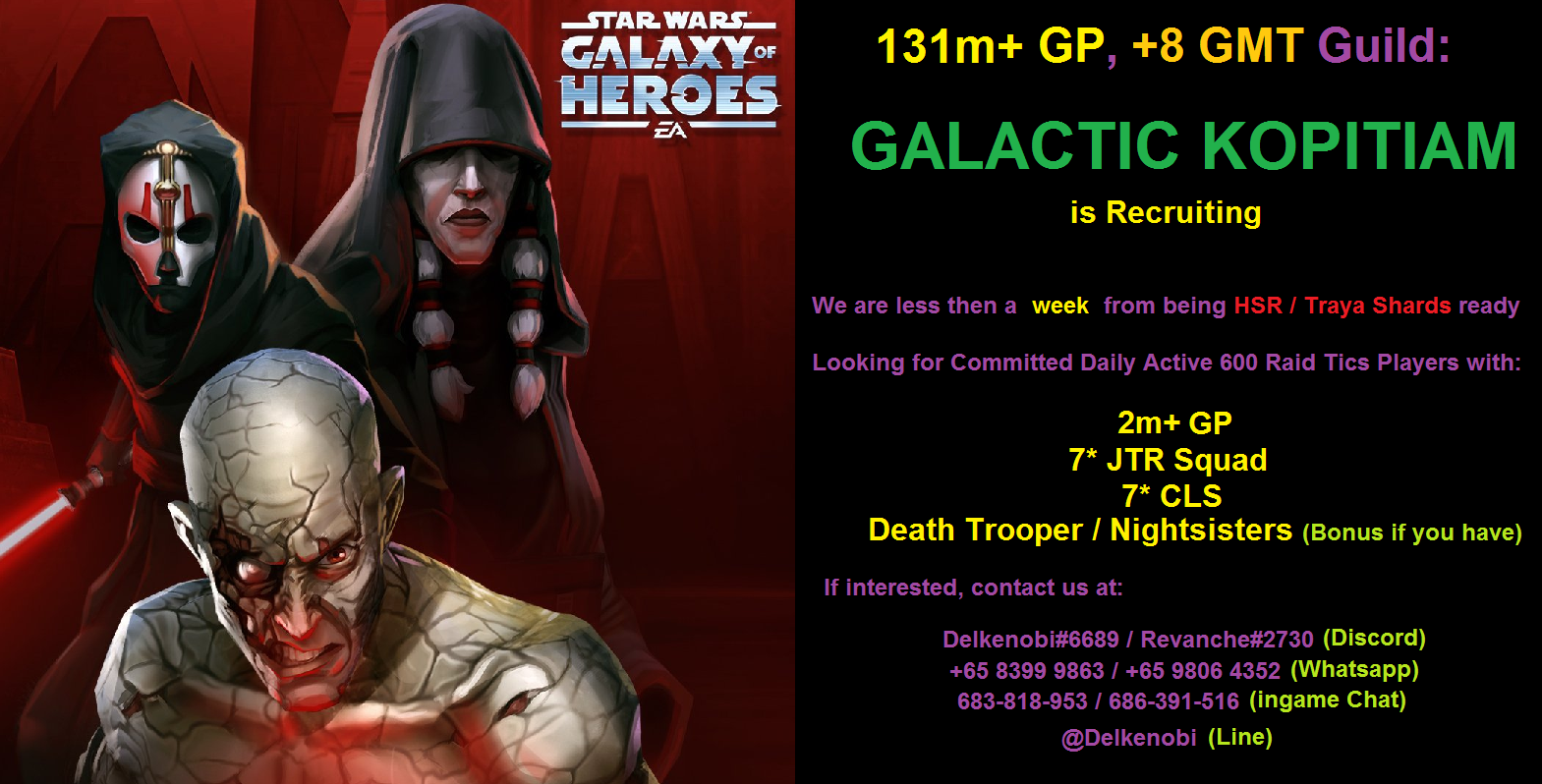 131m+GP, GMT +8 Timezone, Independent Stand-alone Guild Looking for