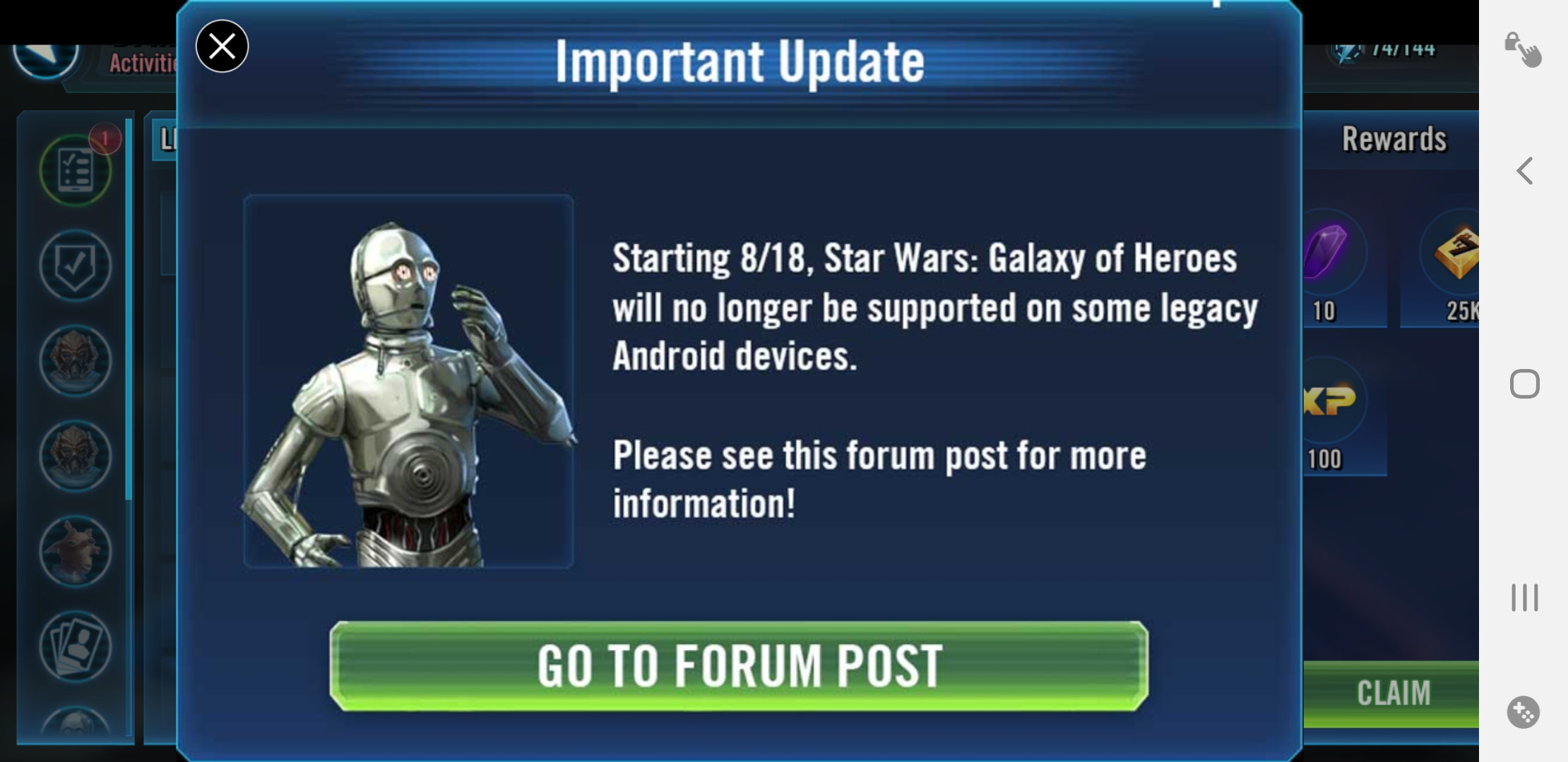 Don't Worry Legecy Android Users    — Star Wars Galaxy of Heroes Forums