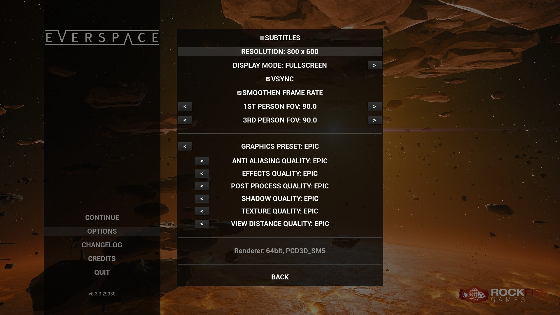Everspace reports wrong resolution and does not shut down