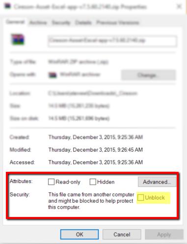 Support FAQ - Unblocking Zip Files — Cireson Community