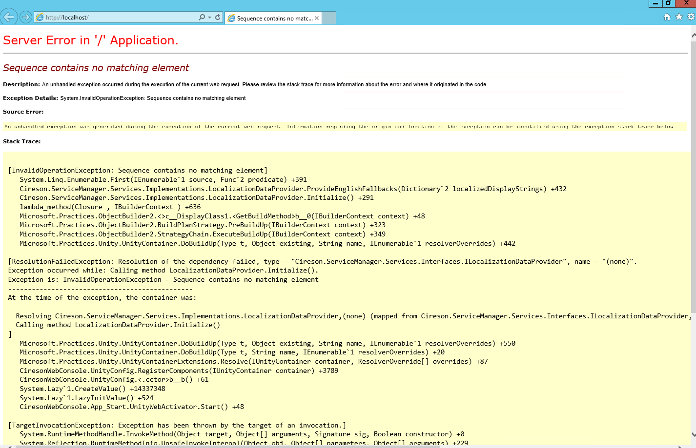 Support FAQ - IIS Error after new install: Server Error OR Group is