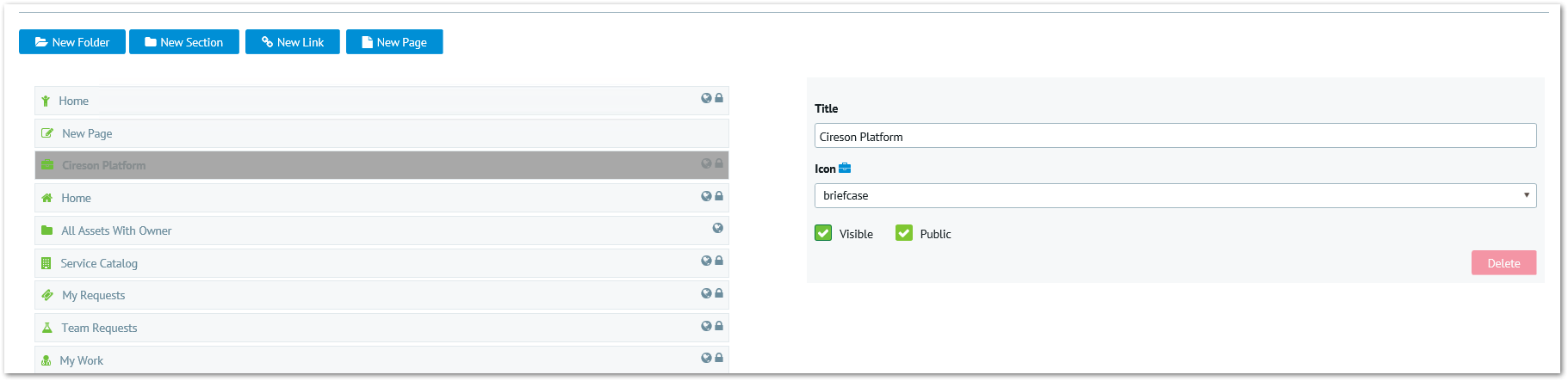 Example: Creating a custom iframe page in the Cireson Portal