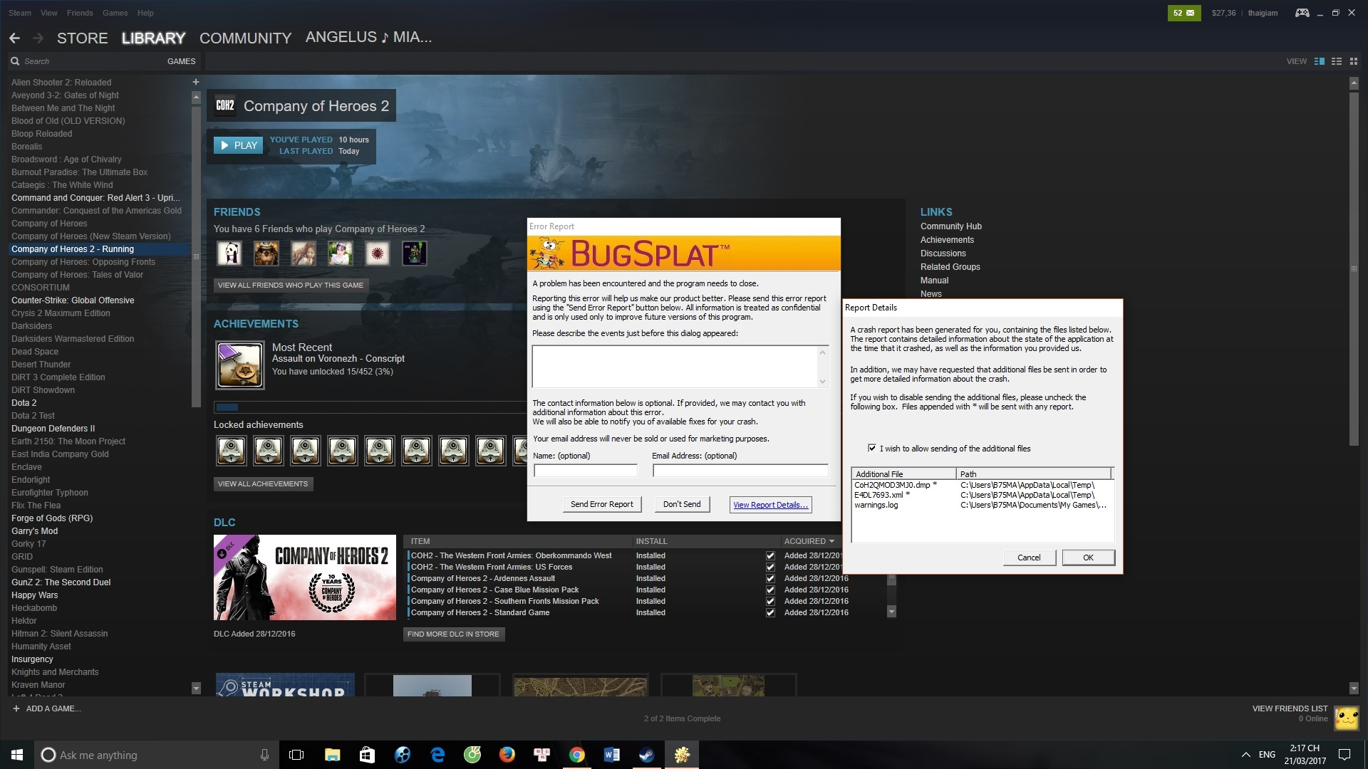 Company of Heroes 2 when launching flies an error what is BugSplat what is it all and how can this error be removed