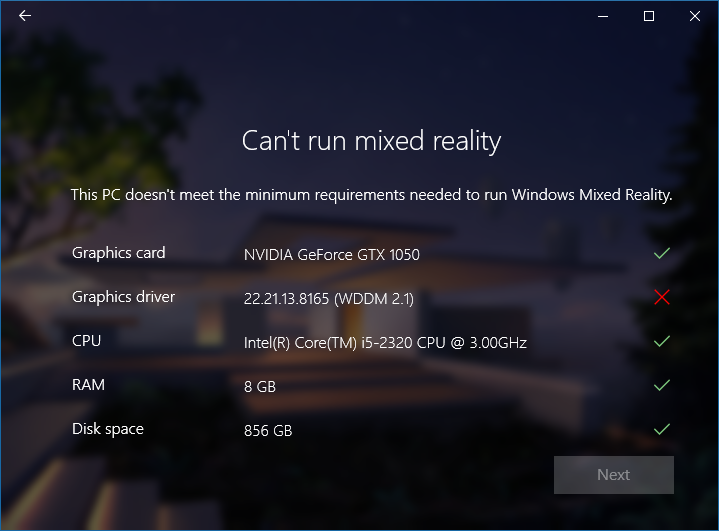 Mixed Reality Minimum Requirements and WDDM 2 2 — Mixed Reality