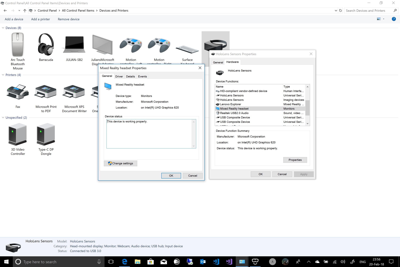 HMD display not working - Surface Book 2 + Lenovo Explorer +