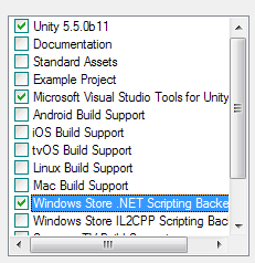 Why is the option for Windows store in my Unity3D build or