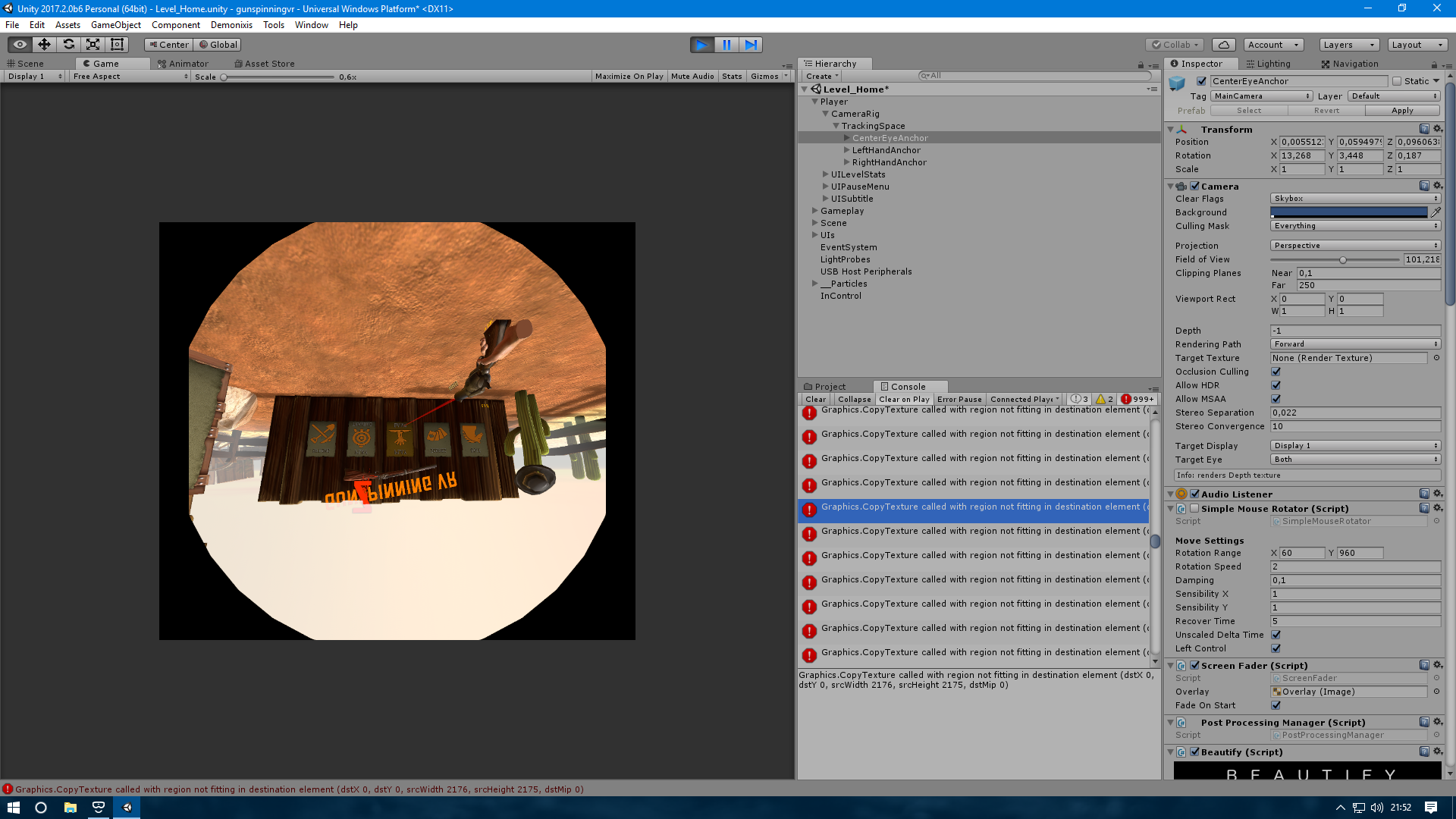 Image reversed in Unity (nothing in the headset) — Mixed