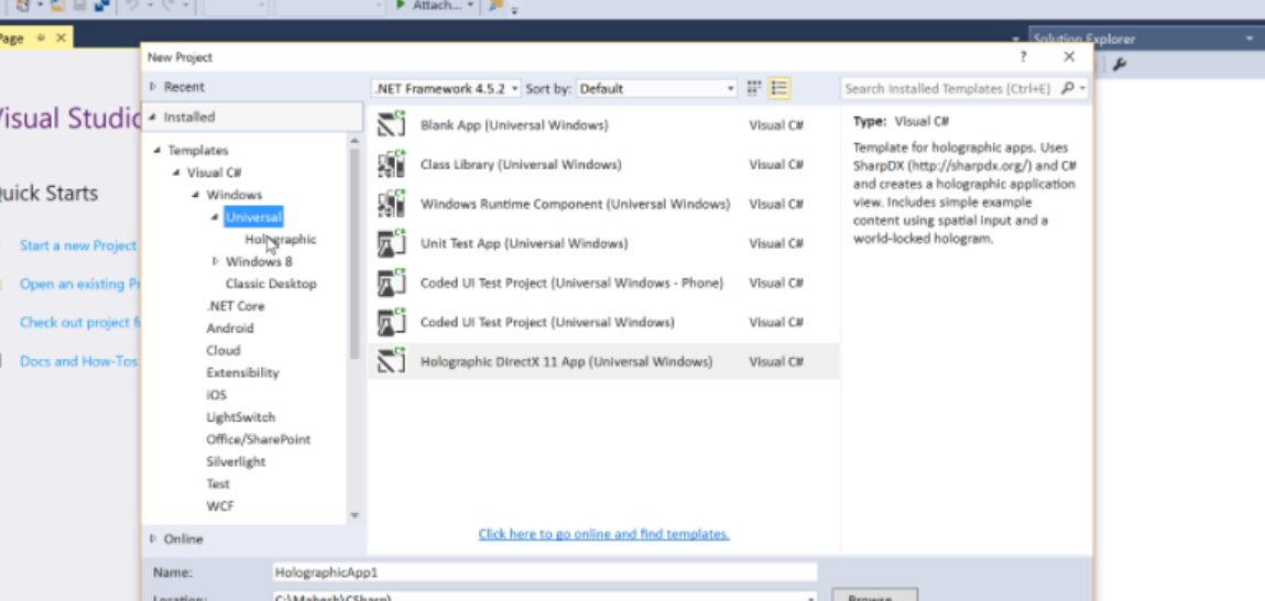 Unable to see Holographic option under Universal in VS 2015