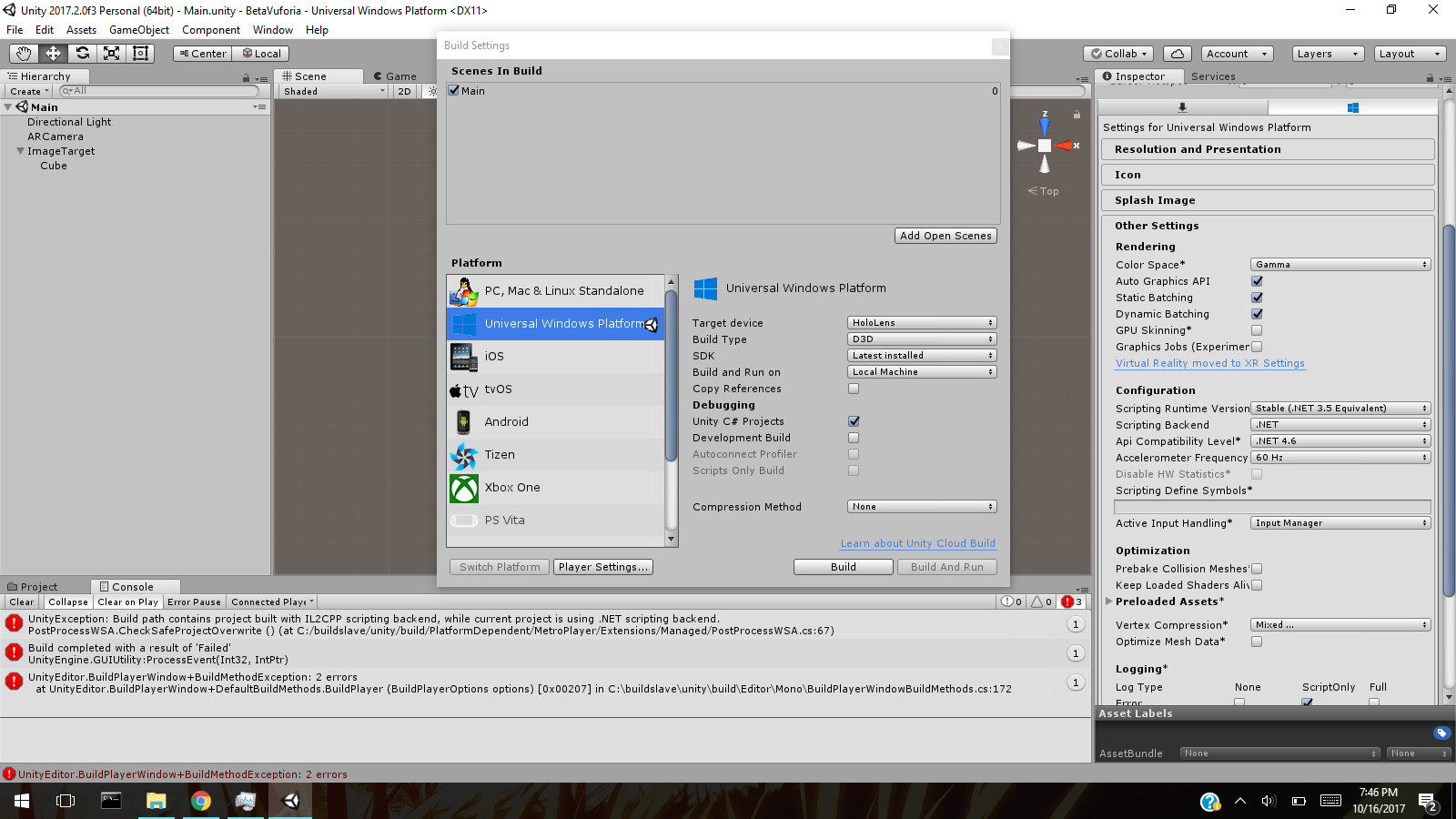 Unable to select Unity C# Project when building Vuforia