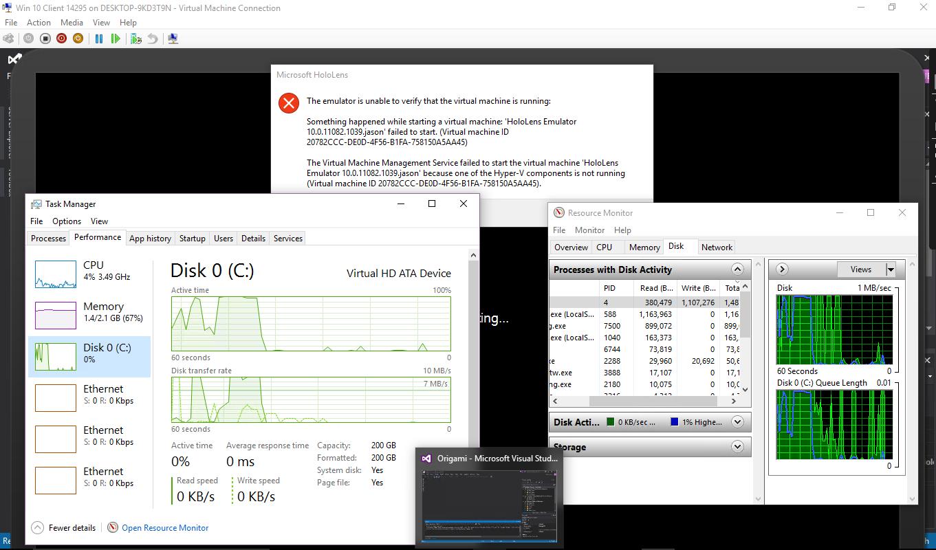 Hololens Emulator failed to start// one of the hyper-v