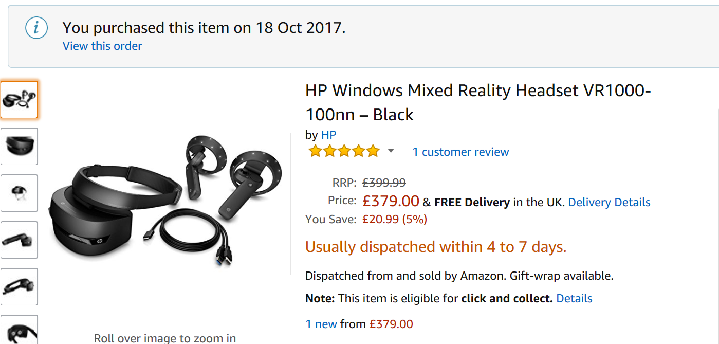 UK Version:HP Windows Mixed Reality Headset VR1000-100nn