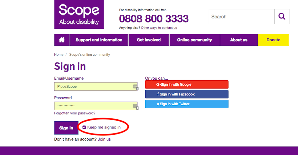 scope login page with red circle drawn around stay signed in box