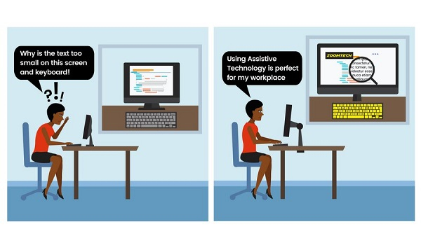 An illustration showing a woman struggling to see text on her screen at work and the after-image showing the positive effect of assistive technology