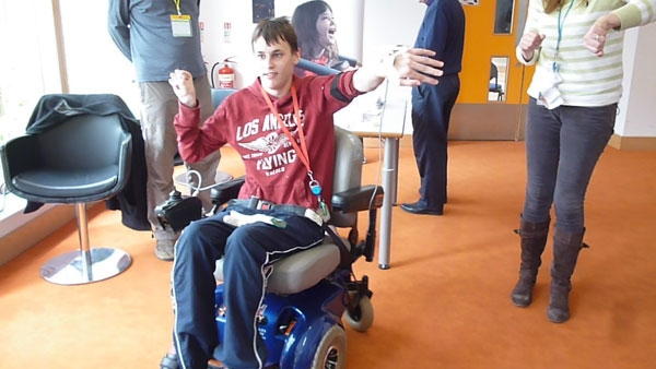 wheelchair dancing man with adapted wheelchair