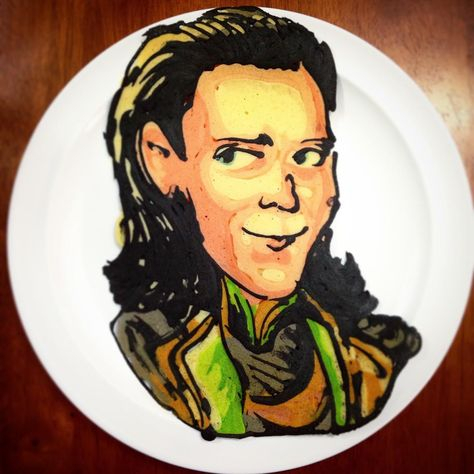 A pancake that looks like the Marvel Comics character Loki