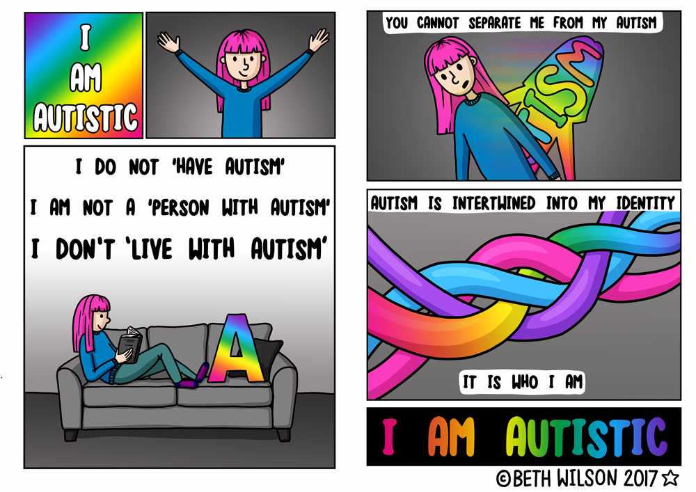 comic book style illustrations featuring an illustrated girl with pink hair and reading I am autistic autism is intertwined into my identity it is who I am I am autistic