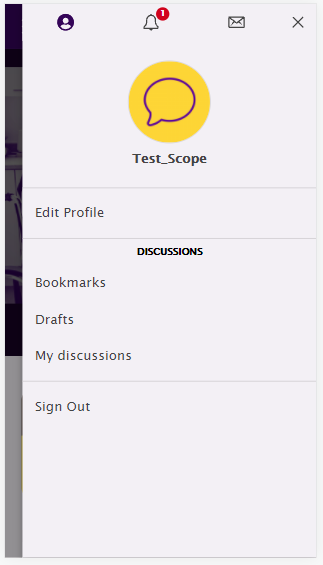 A screenshot of the communitys signed in mobile profile menu