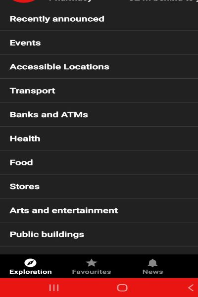 homescreen of the app displaying place category options It reads from front to bottom Recently announced events accessible locations transport banks and ATMs health food stores art and entertainment and finally public buildings