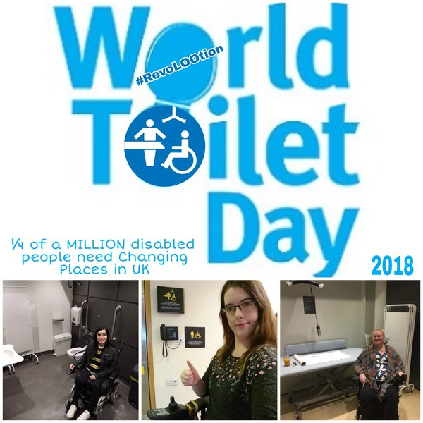 graphic reading world toilet day 2018 in blue alongside images of the three female contributors using their wheelchairs inside disabled toilets
